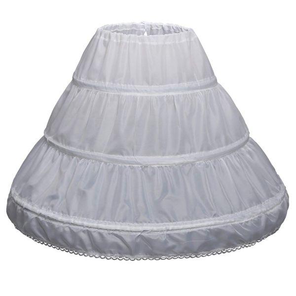 Children 3 Hoops Petticoats Wedding Bride Accessories Half Slip Little Girls Crinoline White Long Flower Girl Formal Dress Underskirt