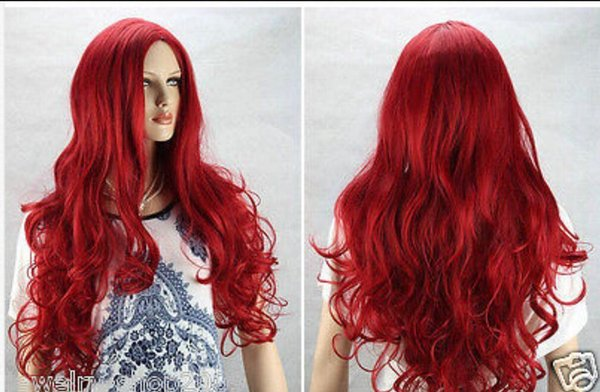 WIG free shipping NEW FULL RED CAN HEAT CURLY COSPLAY WIG