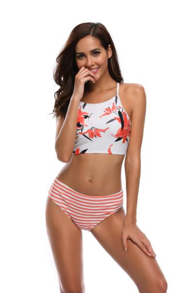 e3950d9ad2d1 Compre 2019 Nuevo Blanco Y Negro De Impresión De Flores Para Mujer Bikinis  Sexy Traje De Baño Separado Alta Calidad Moda Explosión Traje De Baño A ...