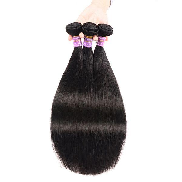 Fasci di capelli vergini brasiliani all'ingrosso peruviana Tessuto intrecciato Fasci diritti 3 fasci indiani per estensioni di tessuti