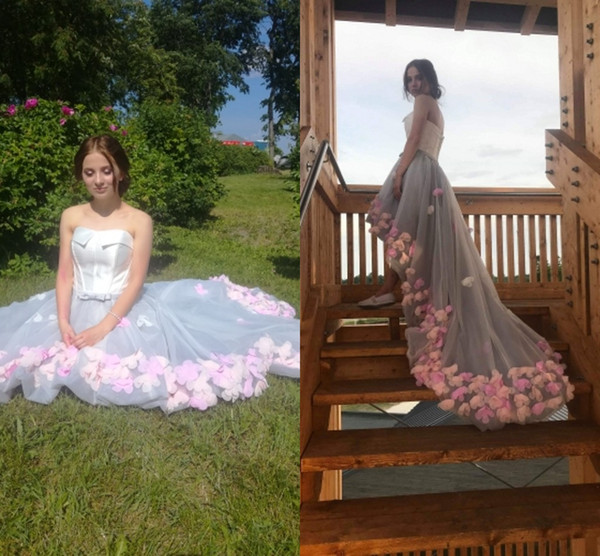Romantic Hi Low 3D Floral Flowers Prom Evening Dresses Sweetheart Organza Backless Homecoming Formal Pageant Dress Gowns dress Cheap