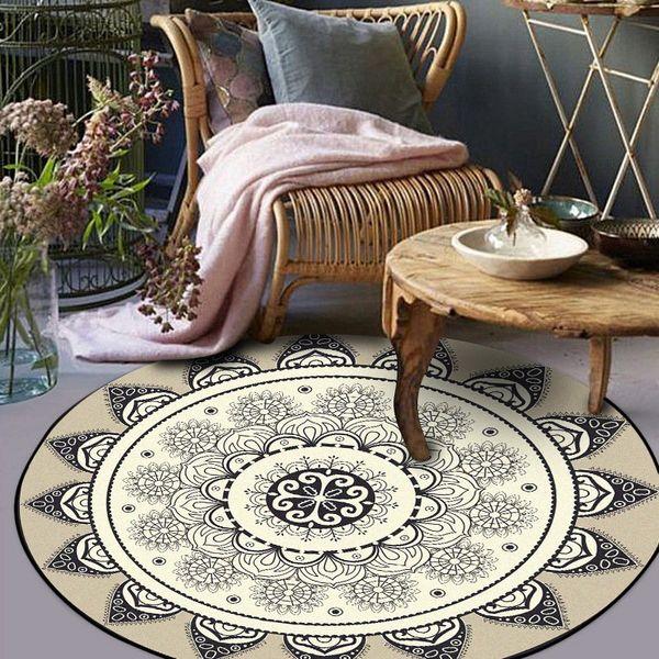 Moda semplici rotondi tappeti nordici astratti geometrici fiori grigio nero zona tappeto camera da letto salotto tappeto cesto sedia girevole mat