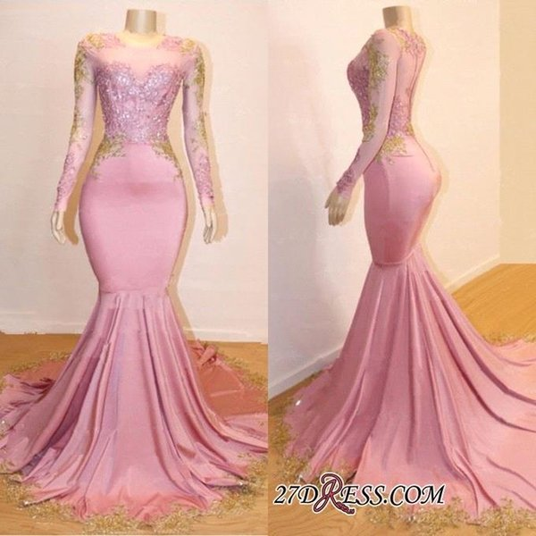 Elegant New Arrival Cheap Pink 2019 Mermaid Prom Dresses Long Sleeves Lace Applique Evening Party Wear Formal Dresses vestidos
