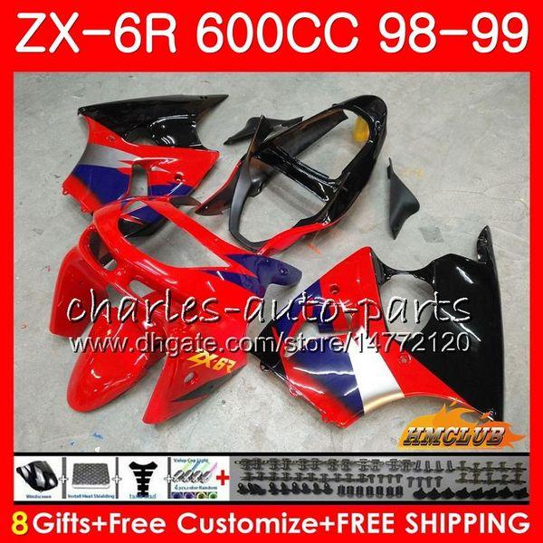 Karosserie Für KAWASAKI NINJA ZX-6R 6R ZX-636 ZX600 CC 98-99 rot schwarz neu Verkleidung 39HC.239 600CC ZX636 ZX6R 98 99 ZX 636 ZX 6R 1998 1999 Verkleidung