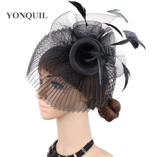 874e0cecd 2019 Fashion Black Feather Hair Accessories Fascinator Mini Top Hat Fancy  Dress Headwear White Party Hats Headpieces Multiple Colors From ...