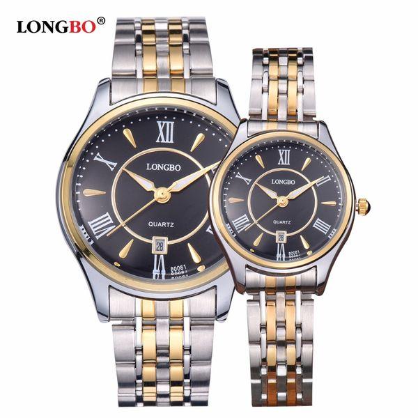LONGBO Luxury Lovers Couple Watches Men Watch Women Gold Stainless Steel Quartz Wristwatch Montre Homme Reloj Femmes Mujer 80081