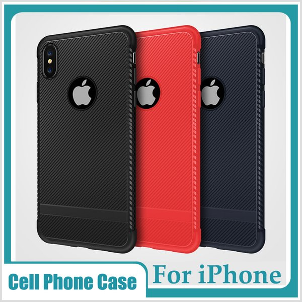 For iPhone X XR XS MAX 7 8 Plus Cell Phone Case Cross Stripes Anti-fingerprint Anti Slip TPU Cover Mesh Checker Thermal Design