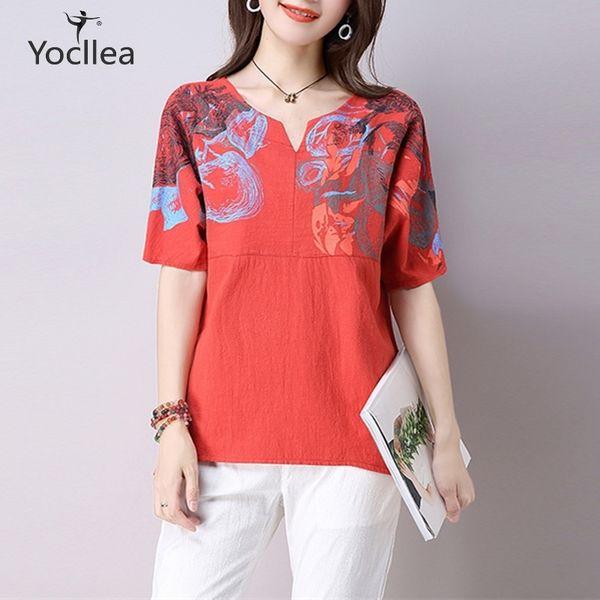 Women Blouse Summer Autumn Cotton Linen Print Blouse Batwing Sleeve Shirts Blusas Femininas Plus Size Loose Casual Women Tops Y190418