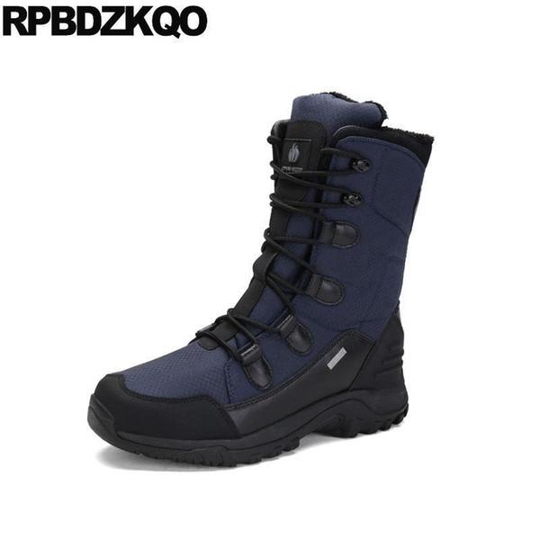 Зашнуруйте меховые ботинки снега Повседневная снежная синяя водонепроницаемая наружная нескользящая приятная обувь больших размеров мужская зимняя обувь теплая середина икры походы