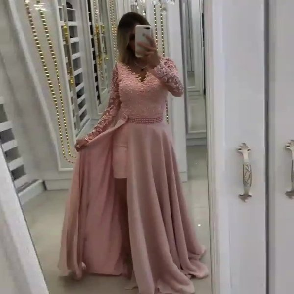 Blush Pink Prom Formal Dresses Pearls Chiffon robe de soiree Formal Evening Party Gowns Long Sleeves abiye Lace Evening Gown