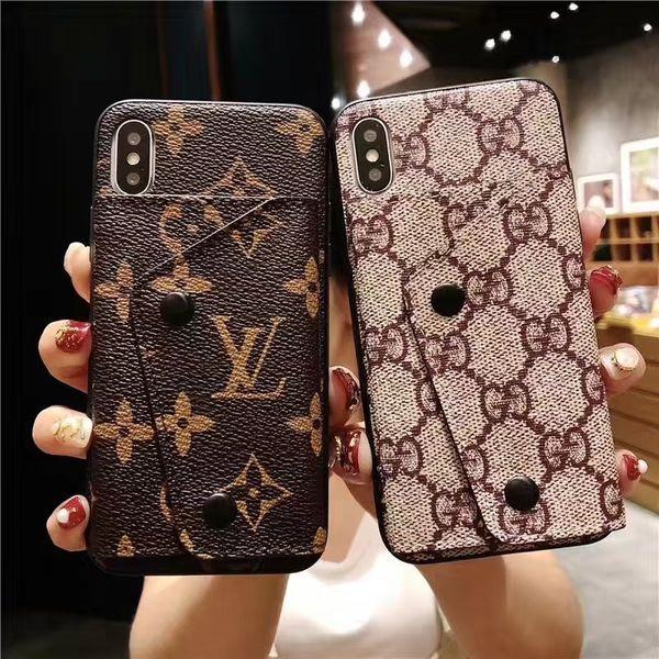 Mode luxus handy case hochwertigem leder kartenhalter designer case für iphone x xs xr xs max 7 7 plus 8 8 plus 6 6 plus
