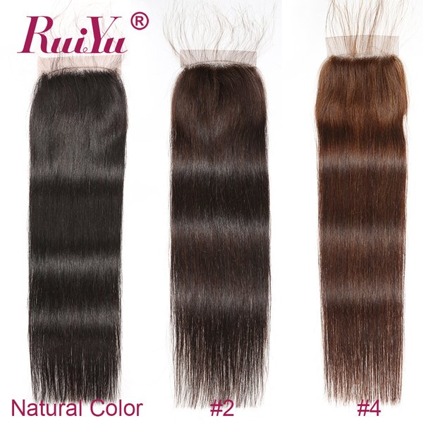 Dark Brown Light Brown Color Straight Free Part Closure Brazilian Virgin Human Hair 4x4 Lace Closures #2 #4 Top Closures Malaysian Remy Hair