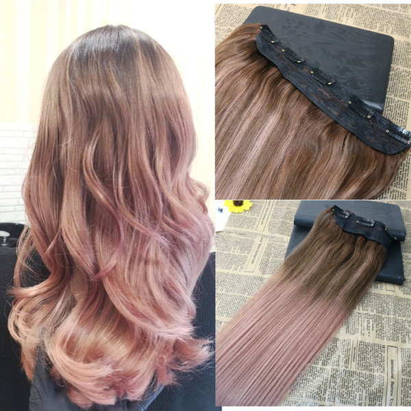 Balayage Rose Gold Color One Piece Clip In Human Hair Extension Set 5 Clips 70g 140g 12 26 12 Inch Hair Extensions 22 Inch Human Hair Extensions From