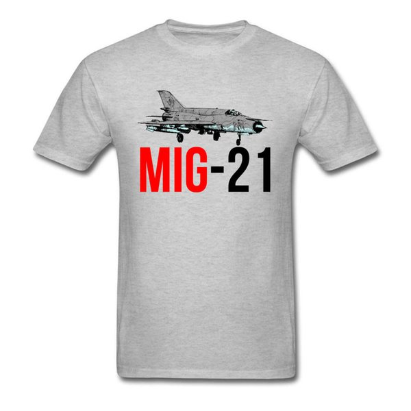 Новейшая MIG 21 Jet Air Plane Футболка Мужская футболка Серая футболка O Шея Одежда 3D Верх для пилота Бомбардировщик Военные парни