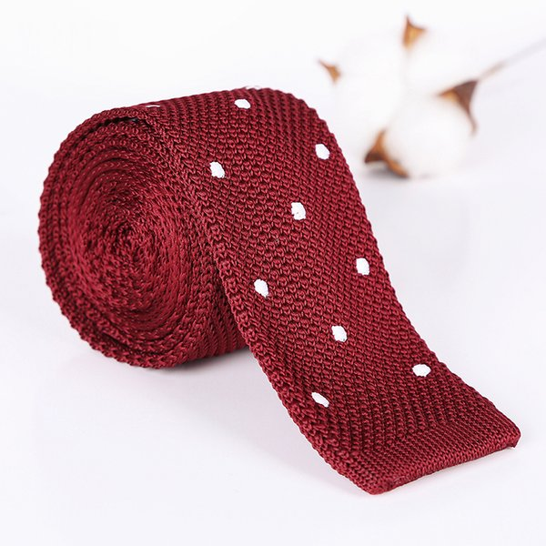 Tupfen Männer Stricken Krawatten der Männer beiläufige feste kintted Polyester Silk schmale Bauform heiß Krawatte