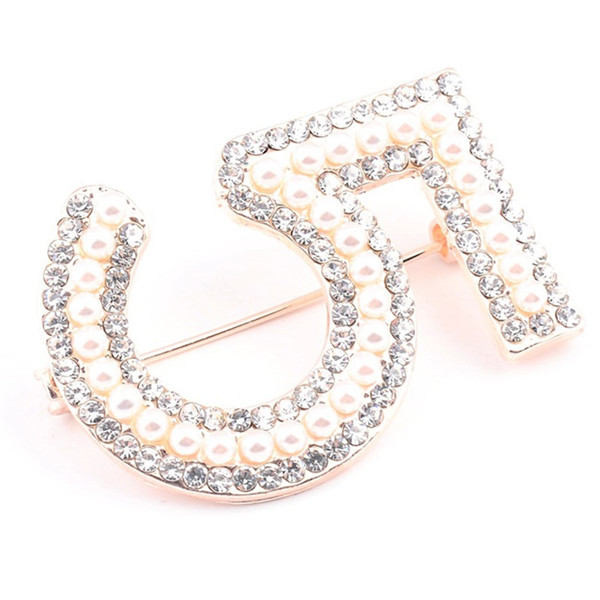 Arabic Numerals 5 Vintage Brooch Rhinestone Cubic Zirconia Suit Scarf Flower Brooch Pins Large Brooches For Women