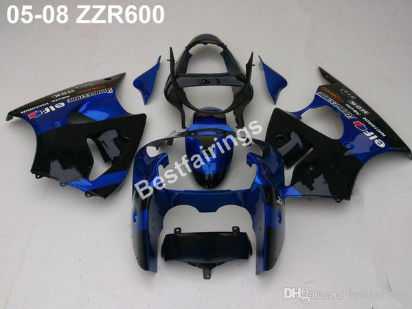 Injection mold 100% fit for Kawasaki ZZR600 05 06 07 08 blue black fairings set ZZR 600 2005-2008 ZV38