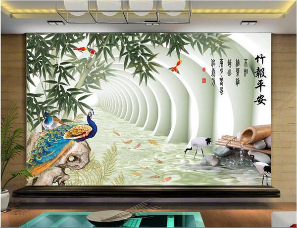 Papel tapiz 3D personalizado foto mural estilo chino bambú pavo real TV fondo decoración para el hogar murales de pared 3d papel tapiz para paredes 3 d sala de estar