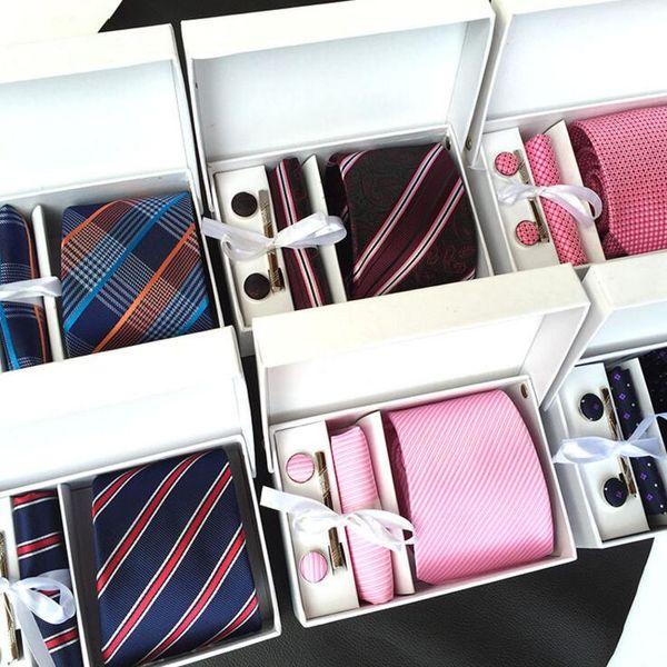 New Brand Striped Dot Men Neck Ties Clip Hanky Cufflinks sets Formal Wear Business Wedding Party Plaid Tie for Mens cravat