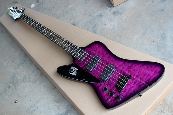 best selling Factory Custom 4-String Left handed Purple Electric Bass Guitar with Clouds Maple Veneer,Rosewood Fingerboard,Black Hardware,be Customized
