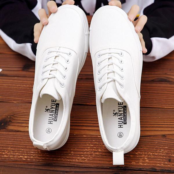 Hot Sale Men's Canvas Shoes Fashion Autumn Black White Men Casual Shoes Lace-up Breathable Men Sneakers size 39-44