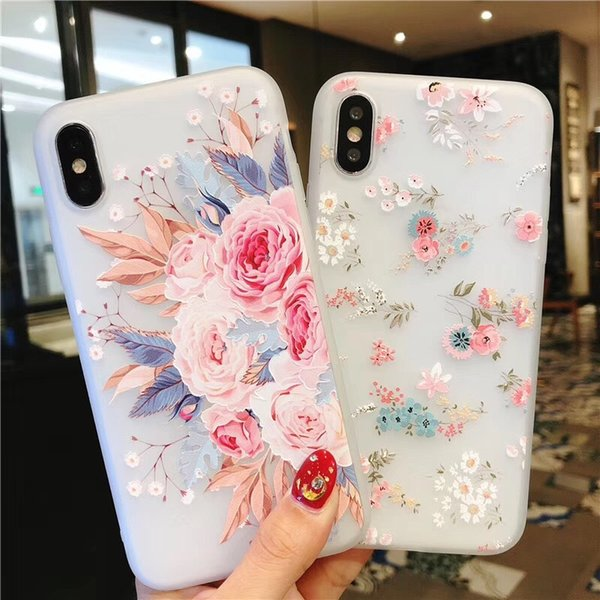 Cell Phone Cases Embossed 10 Types Floral Rose Girl Matte Soft Shell Iphone7plus Protective Cover for Iphone 7/8/7S/8S/X/XS/XR/XS MAX 50pcs
