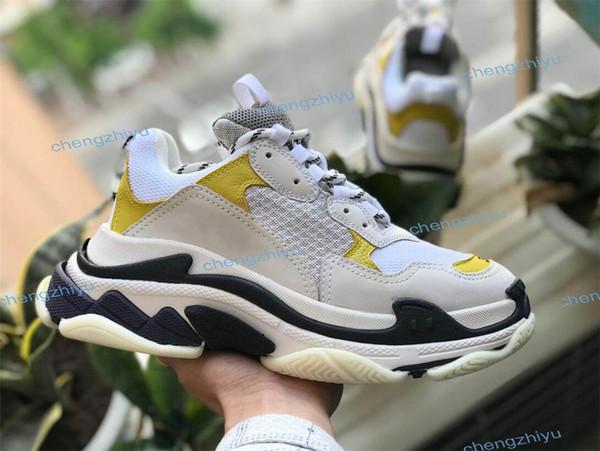 2019 París moda caliente ocio lujo papá zapatos zapatos de tenis negros y amarillos para hombres y mujeres 36-45
