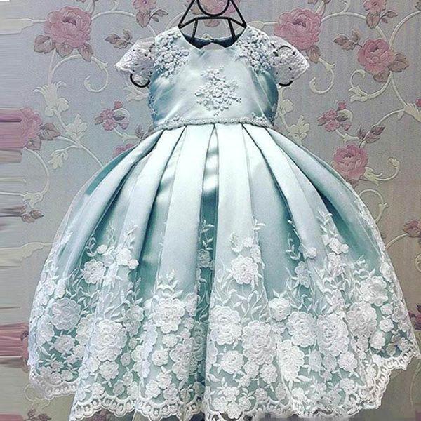2019 Lovely Flower Girls 'Cap Sleeve Sleeve con ricamo in pizzo blu menta per bambini Pageant bambino infantile partito abito da sposa usura