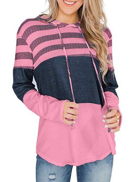 Mulheres casual solto patchwork camisolas e hoodies manga comprida cordão camisolas bloco de cor listrado malha pullover top
