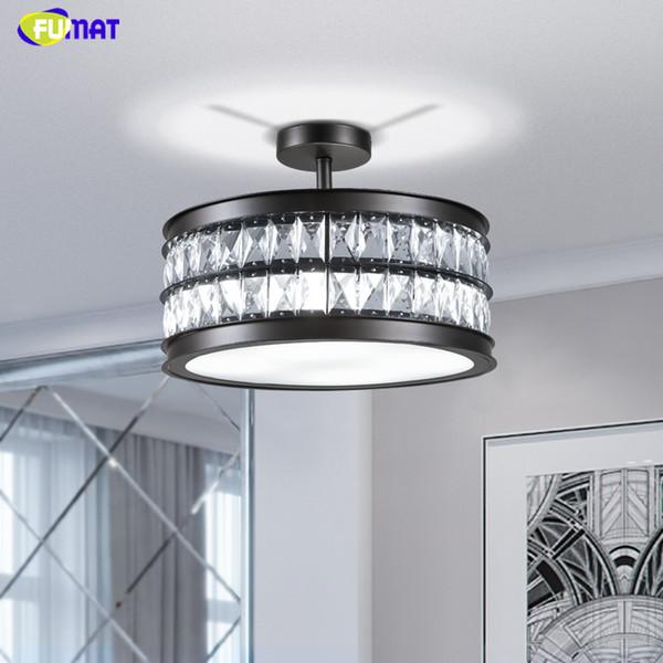 Lampadari di cristallo FUMAT Brevi luci moderne di cristallo rotondo dell'ombra del salone Camera da letto del salone ha condotto le luci del candeliere a cristallo del sottotetto K9