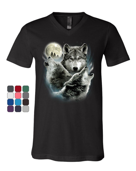 Howling Wolf Pack T-Shirt mit V-Ausschnitt Wild Wilderness Animals Natur Moon T-Shirt T-Shirt Männer Einzigartige Weiße Kurzarm Benutzerdefinierte XXXL Paar T Sh