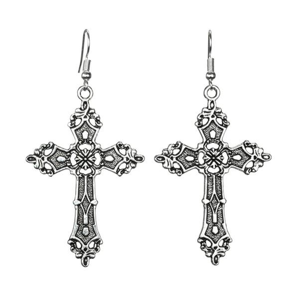 Hot Sale Vintage Silver Cross Earrings Punk Gothic Dangle Long Earrings Pendant Christian Faith Earrings Fashion Women Jewelry Party Gift