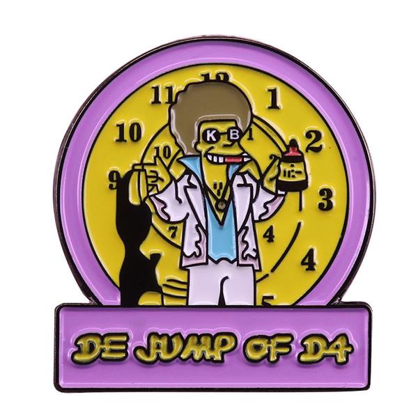 Simpson broche relógio arte pin bonito dos desenhos animados distintivo cultura pop acessório tempo jóias