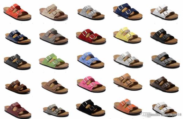802 Arizona 2018 Venta caliente verano Mujeres y hombres sandalias planas Zapatillas de corcho zapatos casuales unisex imprimir colores mezclados tamaño 34-46