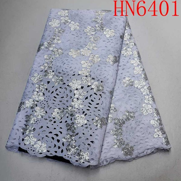 White Nigerian Shining Sequins Lace Fabric 2019 African Lace Fabric Embroidery High quality Swiss Voile French Sequins Mesh Lace