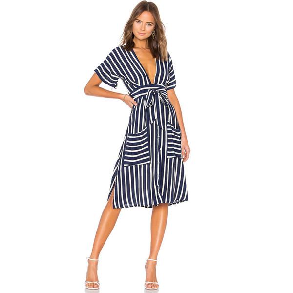 Sexy Digital Print Short Sleeve Striped Sexy Deep V-neck Slim Lace Midi Swing Dress with Belt