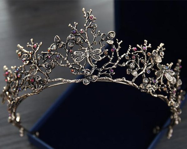 Vintage Baroque Korean Bridal Crown And Tiaras Beaded Girls Women Proms Evening Brithday Dress Crowns Wedding Crystal Ornaments Headpieces
