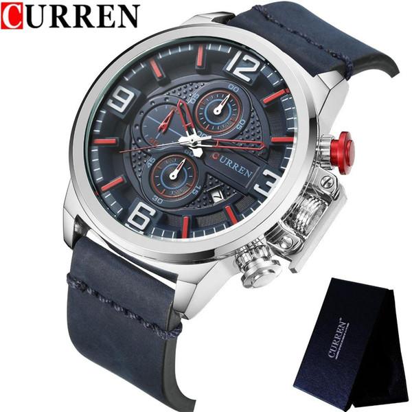 21084520f182 Relojes Hombres Marca de lujo CURREN Cronógrafo Hombres Relojes deportivos  Correa de cuero de alta calidad