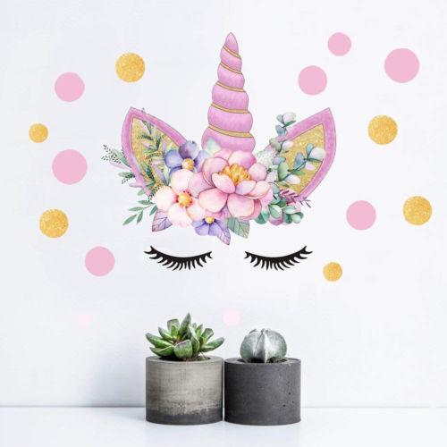 Hadas románticas Unicornio Estrellas Pegatinas de Pared Para Niñas Dormitorio Flores Tatuajes de Pared Habitación de Dibujos Animados para niños