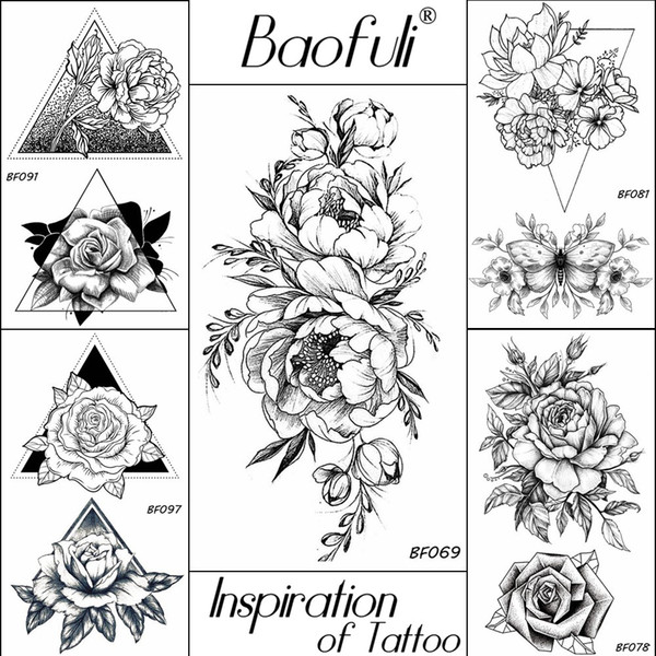 BAOFULI 20 Estilos Das Mulheres Negras Flores Tatuagem Transmissível Falso 3D Body Art Tatoos Braços Braços Manga Rosa Etiqueta Do Tatuagem Temporária
