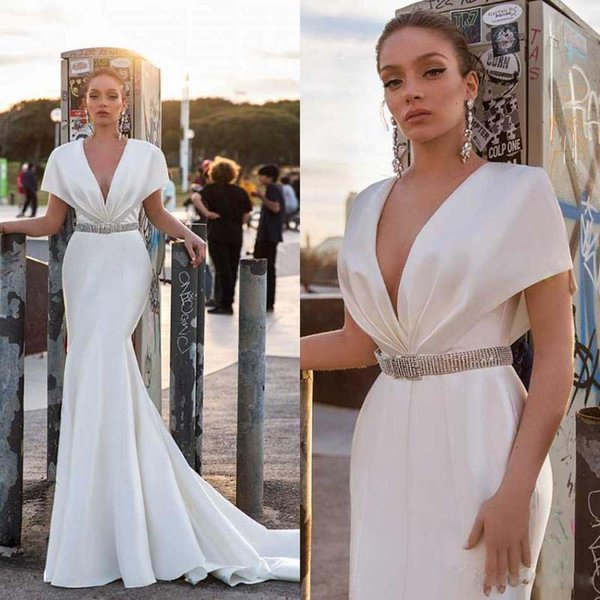 Elegant Satin Mermaid Wedding Dresses Cap Sleeve Rhinestone Sash V Neck vestidos de novia Wedding Gown Sweep Train Country Bridal Dress