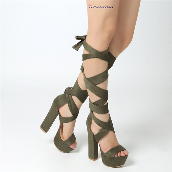 Hot Sale-Real Photos Handmade Ladies High Heel Sandals Sexy Ankle Wraps Chunky-heels Sandals Party Prom Fashion Summer Club Shoes N076