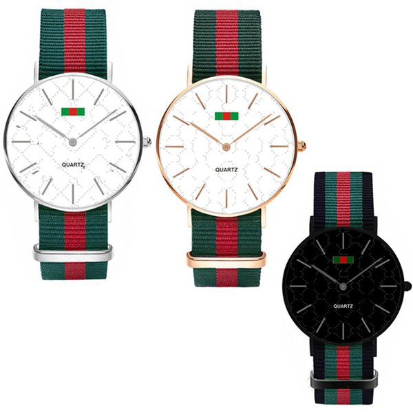 best selling Fashion Nylon Ultra-thin Watch Neutral Watch Simple Red Green Stripes Straps Unisex Women Men Wristwatches 36MM 40MM C71702