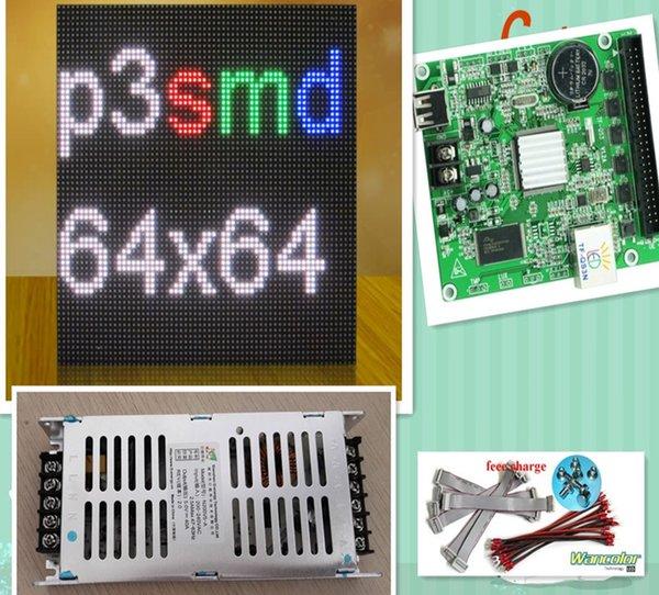 Frete grátis DIY interior LEVOU exibição de vídeo 10 pcs P3 interior Cor Led Módulo (192 * 192mm) + RGB led controlador + fonte de alimentação