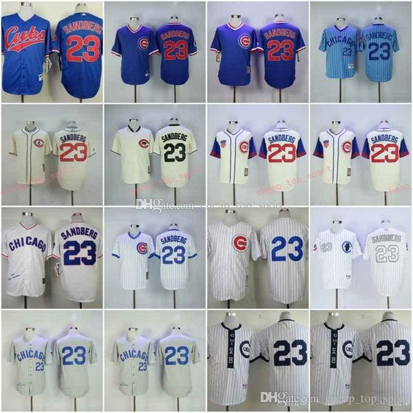 huge discount 63373 2492d 2019 Hot Cubs 23# Sandberg White Blue Grey Baseball Throwback Jerseys Shirt  Stitched Top Quality From Cheap_top_sport, $26.39 | DHgate.Com