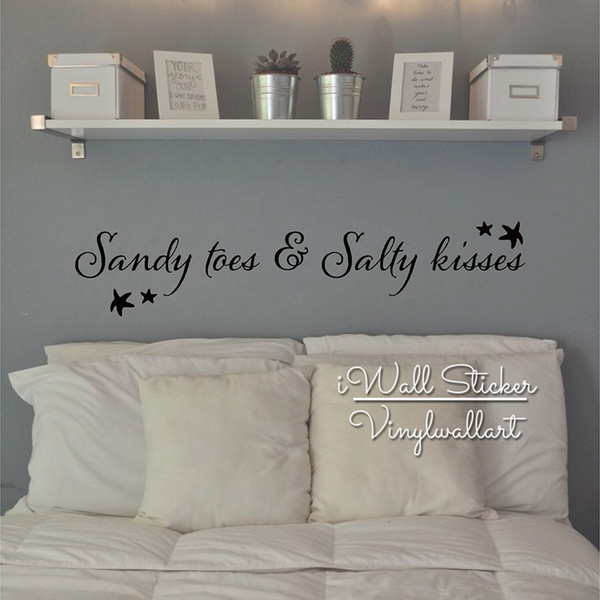 Sandy Toes & Salty Kisses Quotes Wall Decal, Beach Quote Wall Sticker,  Living Room Home Decor, Room Decoration Q258 Wall Art Stickers Wall Art ...