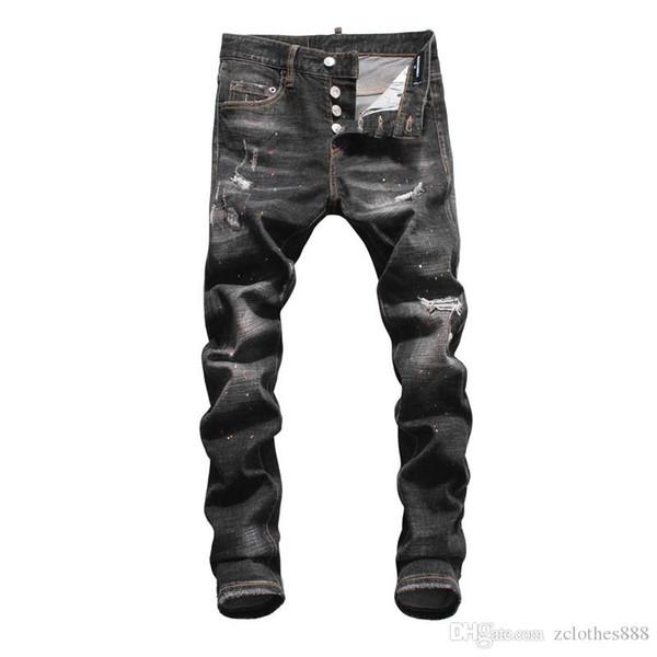 2020 Новый ИЗВЕСТНЫЙ Fashion Designer Проблемные Разорванные мужские джинсы мотоцикла Байкер Джинсы Причинная HOLE мужские узкие джинсы дизайнерские брюки