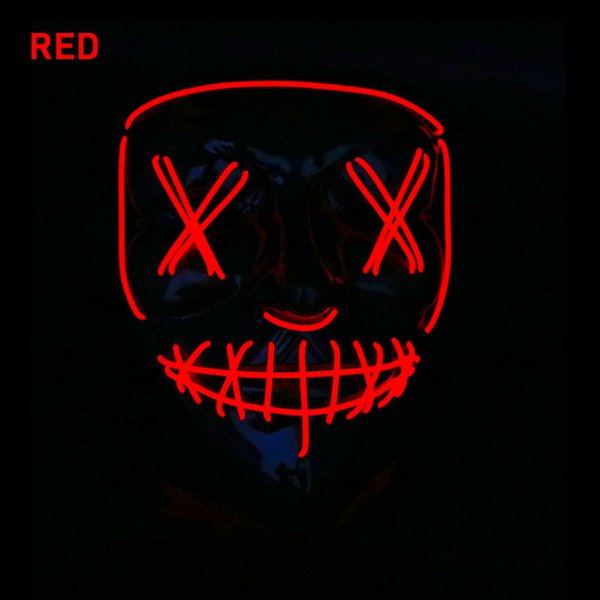 Neon Led Mask Mascara Glow In The Dark Mask Light Up Scary Skull Mask Party Festival Cosplay Costume Halloween Brithday Gift