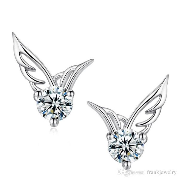 Wing Pattern Earrings Sterling Silver Stud Jewelry Wholesale Zircon Earrings with box