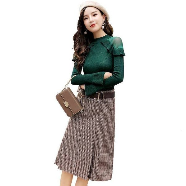 New Arrival Spring Autumn Women Outfits Sets Female Sweater Blouse + Plaid Skirt Suits Lady Slim Knitting Two Piece Set F170